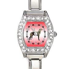 Scottish Deerhound CZ Ladies Stainless Steel Italian Charms Wrist Watch BJ1128