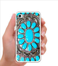 Turquoise Blue Desert Gems Rubber Silicone Case For iPhone 7 6 6S PLUS SE 5S 5C