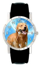 Golden Retriever Dog Man Lady Genuine Leather Water Resistant Wrist Watch SA1988