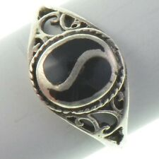Vintage Antique Estate~Black Onyx 925 Sterling Silver Ornate Inlaid Ring Sz 6.75