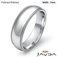 7mm Plain Men Wedding Band Dome Milgrain Solid Ring 18k Gold White 10.4gm 9-9.75