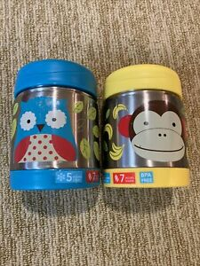 TWO Skip Hop Zoo Stainless Insulated Food Jars (2) Owl Monkey