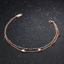 2 Layers Smooth Heart Rose Gold GP Surgical Stainless Steel Bangle Bracelet Gift