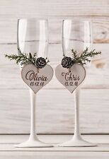 Wedding Champagne Glasses, Winter Wine Toasting Flutes, Christmas Wedding Party