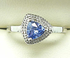 925 STERLING SILVER LAB CREATED TANZANITE RING SIZE N DIAMOND ACCENT SOLITAIRE