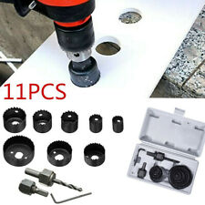 "11Pcs Hole Saw Drill Bit Kit Mandrel Wood Sheet Metal Plastic 3/4"" to 2 1/2"" Set"