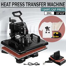 "15""x12"" 2IN1 Combo Heat Press Transfer Machine T-Shirt Cap Hat Sublimation"
