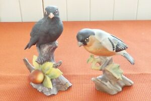 2 Figurines of Birds - Bullfinch & Blackbird