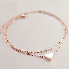 One Pcs Gold Love Heart Ankle Bracelet Double Layer Chain Sexy Foot Anklet