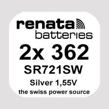 2x Renata 362 Uhren-Batterie Knopfzelle SR721SW AG11 Silberoxid Blisterware Neu