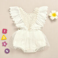 UK Infant Newborn Baby Girls Lace Ruched Ruffles Bodysuit Romper Clothes Outfit
