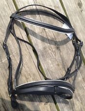 Black leather FOuganza English dressage bridle w/flash caveson full horse
