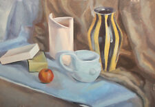 SILL LIFE WITH VASES, JUG AND APPLE OIL PAINTING