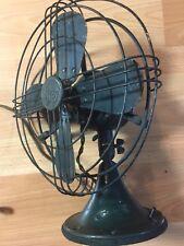 """Antique Vtg General Electric GE Fan 34017 Works 12"""" Blades Original Green Paint"""