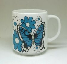 Blue and White Butterfly and Flowers Coffee Tea Mug Made In Japan