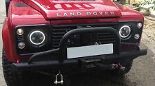 "Land Rover DEFENDER OSRAM LED RHD 7"" headlights 90 110 130 TDCI TD5 angel eye"