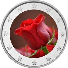 """2 Euro € Motivmünze """" Rote Rose """", coloriert, Hochzeit, Valentinstag etc."""