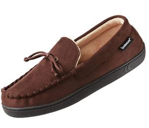 Isotoner Men's Moccasin Slipper Loafer House Shoes Sherpa Lined