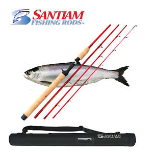 "SANTIAM FISHING RODS 4 PC 7'6"" 4-10lb ULTRA LIGHT GLASS KOKANEE/TROUT TRAVEL ROD"