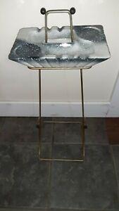 """Vintage Floor Stand Ashtray Mid Century Ceramic Metal Drink Holder 25"""" Bead READ"""