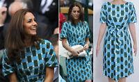 Blue Green Check Print Cotton Belt Shift Pencil Dress UK Size 8 10 12 14 16 New