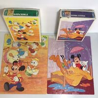 Vintage Lot TWO 1984 Walt Disney Mickey & Friends 100pc Jigsaw Puzzles Whitman