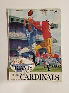 Original Vintage 1960 NY Giants vs. St. Louis Cardinals NFL Football Program