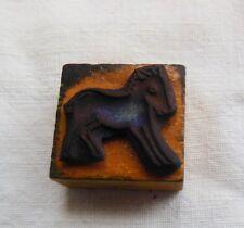 """Rare ancien tampon en bois, les animaux de la ferme """"cheval """""""