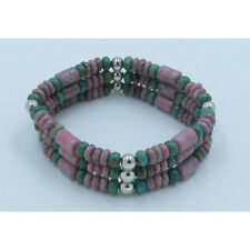 Triple Stack .925 Sterling Silver Natural Turquoise Rhodonite Stretch Bracelet