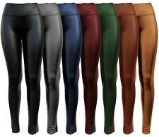 Damen Leggings Lederoptik Lack Leggings enge Leggings Kunstleder Skinny GR 36-46