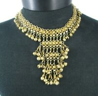 Vintage Brass Choker Necklace Bollywood Style Jewelry Statement Dangles