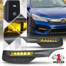 Yellow 6000K Hi-Power LED Fog Light Lamp w/Switch+Harness+Bezel for 16-17 Accord