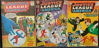 LOT OF 3 JUSTICE LEAGUE OF AMERICA COMICS (DC,1962-1964) #14, 16, 30 SILVER AGE~