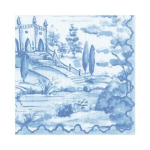20 Paper Party Napkins Blue Tuscan toile Pack of 20 3 Ply Serviettes