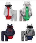 Carter's Baby Infant Boys 3PC Microfleece Hooded Cardigan Bodysuit Pants Set NWT