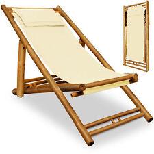 Sedia a sdraio da giardino esterno pieghevole legno bambu