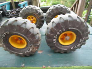 VTG MIGHTY TONKA CONSTRUCTUCTION USED REPLACEMENT TIRES ON AXLE RIMS XMB-975 SET