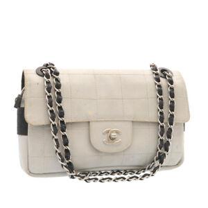 CHANEL Choco Bar Sports Line Chain Flap Shoulder Bag Gray CC Auth 25912