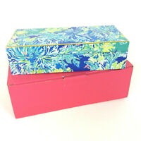 Lilly Pulitzer Lacquer Hinged Box Wade And Sea Too Much Is Never Enough Blue