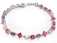 10k White Gold Pink & White Topaz Amethyst Link Bracelet 7.14 ctw