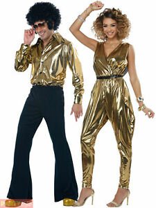 Adult 70s Disco Diva King Costume Mens Ladies Glitz N Glamour Fancy Dress Outfit