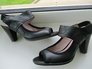 M & S  Black open toe ankle strap ladies court shoe U.K. 4.5 (EUR37.5) Wider fit