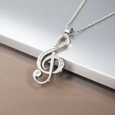 Silver Stainless Steel Notes G Treble Clef Symbol Crystal Pendant Music Necklace