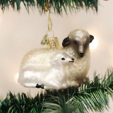 OLD WORLD CHRISTMAS SHEEP WITH LAMB GLASS CHRISTMAS ORNAMENT 12414