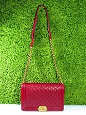 Authentic Channel Quilted Red Boy Bag Lambskin
