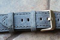 Genuine Leather Watch Strap Band LeVeL B-804S Dark Gray Vintage