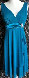 Stunning Teal blue Layered Chiffon Effect Rhinestone Feature dress NWT 12