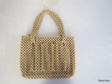 Vintage 1950-60s S Plastic Beaded Tan Shimmery Faceted Beads Handbag Purse