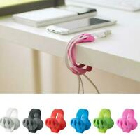 Mini Cable Drop Clip Desk Tidy Organiser Wire Cord Lead USB Charger Holder New