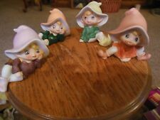4 Vintage Retro 70's Pixie Elves Fairies Ceramic Figurines Gnomes Homco 5213